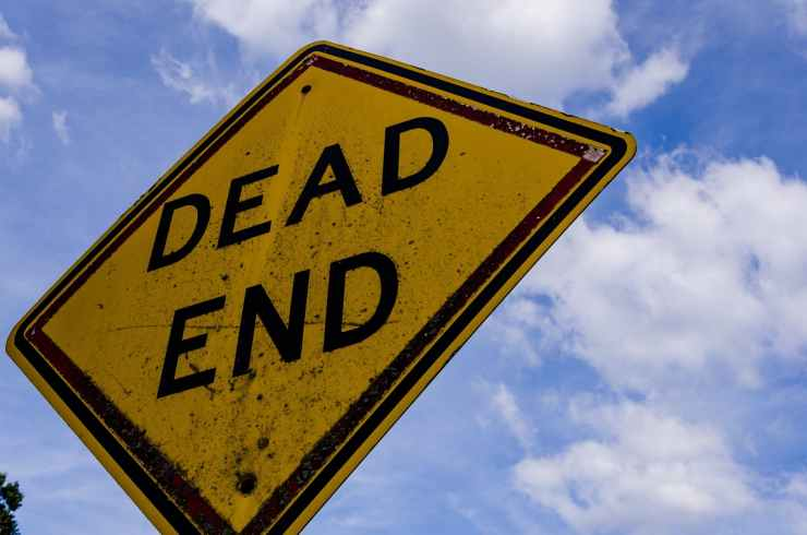caution dead end post safety